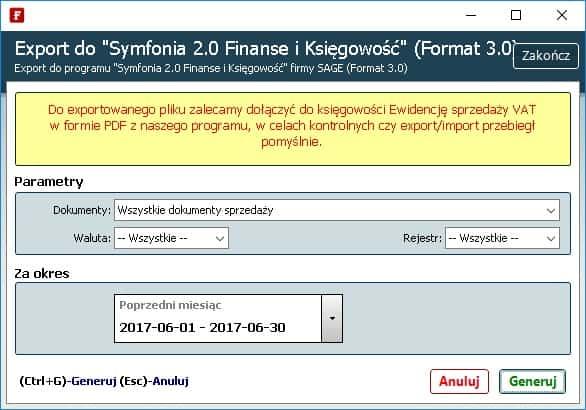 export do symfonii