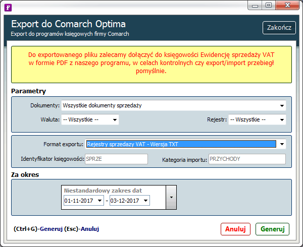 export do comarch optima txt