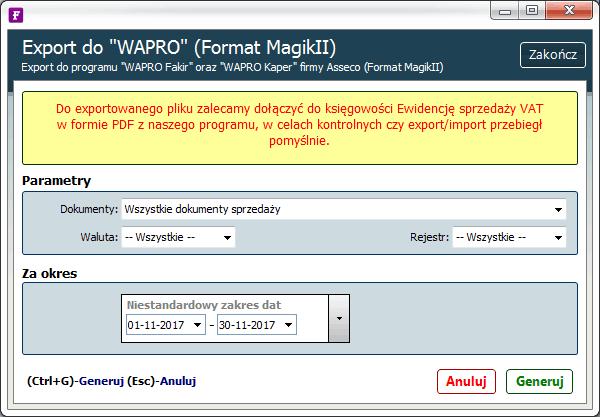 eksport do wapro
