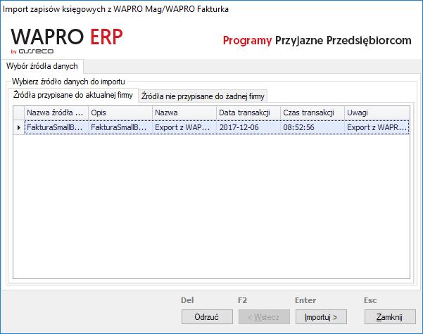 księgowanie zapisów xml wapro