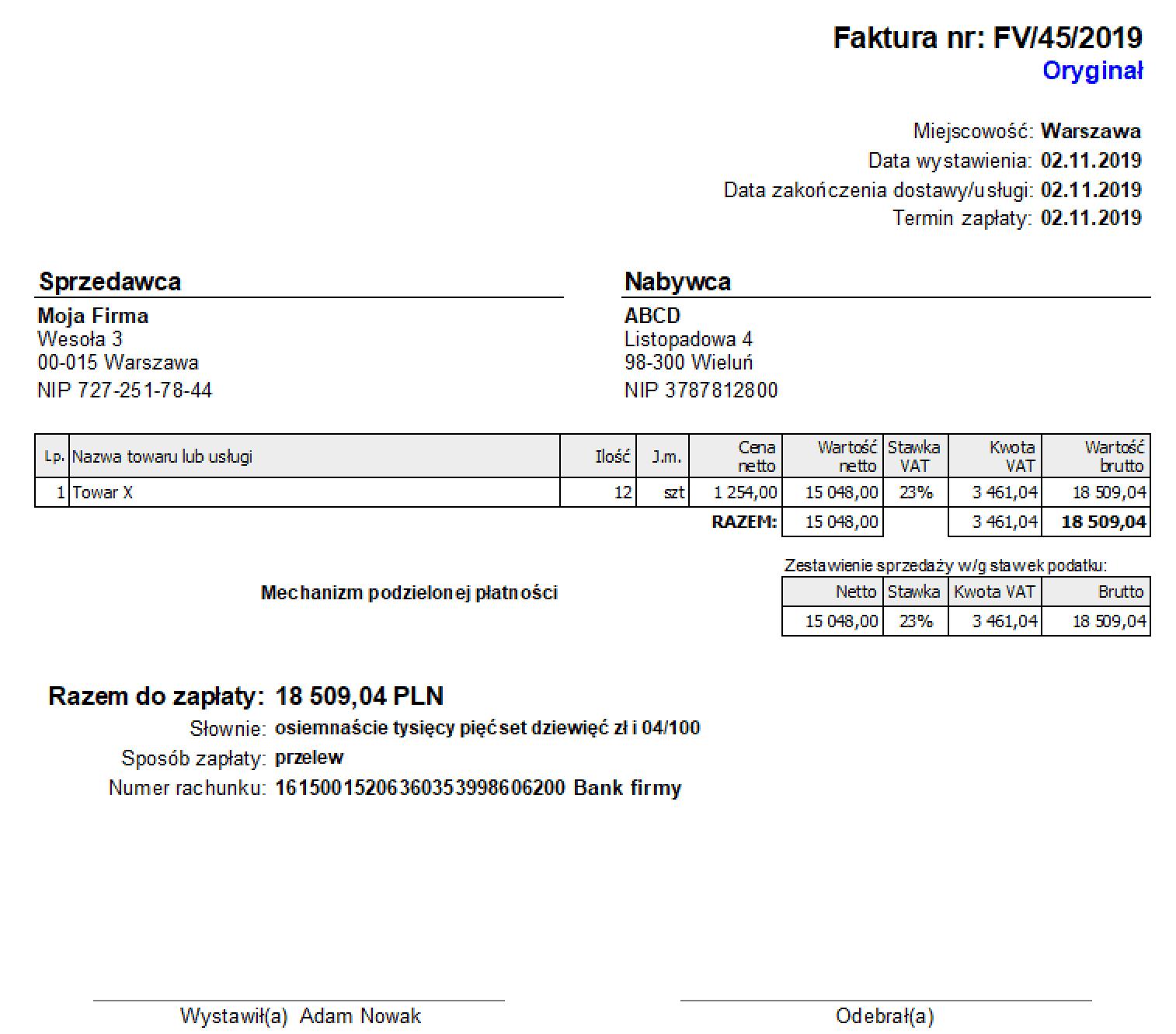 faktura z split payment