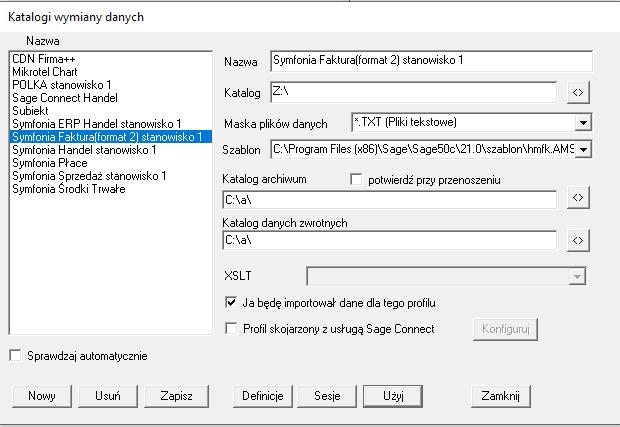 Eksport do Symfonia Finanse i Księgowość wersja 50c